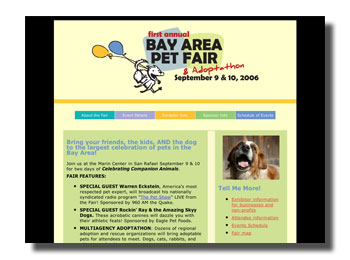 Bay Area Pet Fair web site